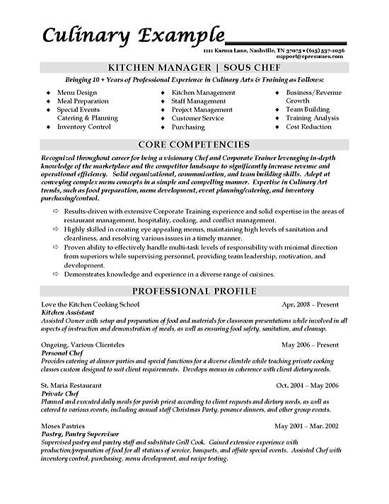 Sous Chef Resume Example - Food Service Resume Samples