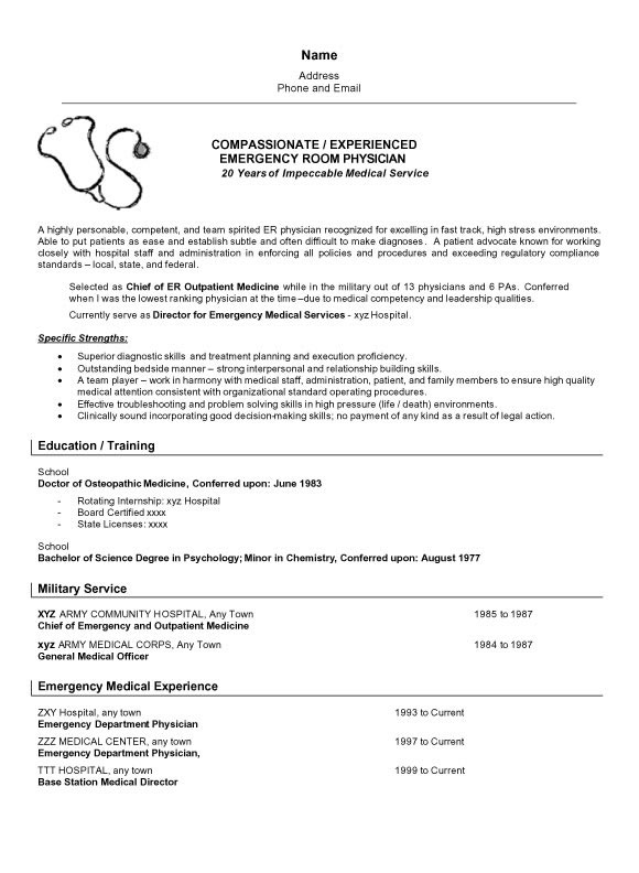 Physician Resume Example - doctor sample resumes