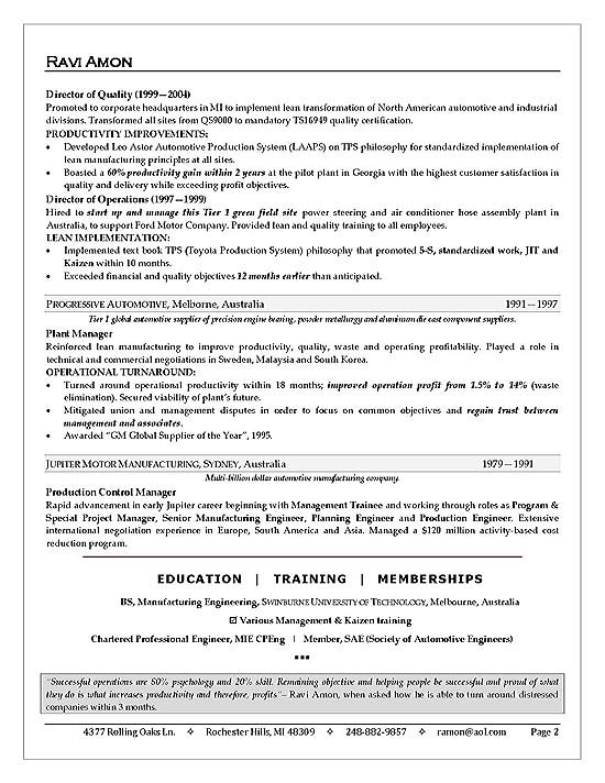 Business Operations Executive Resume Example - resume executive summary sample