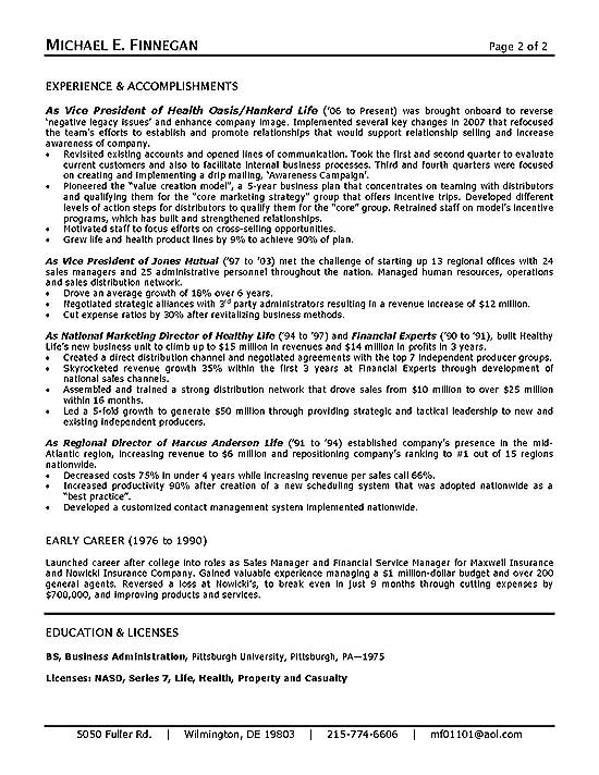life insurance resume samples - Towerssconstruction