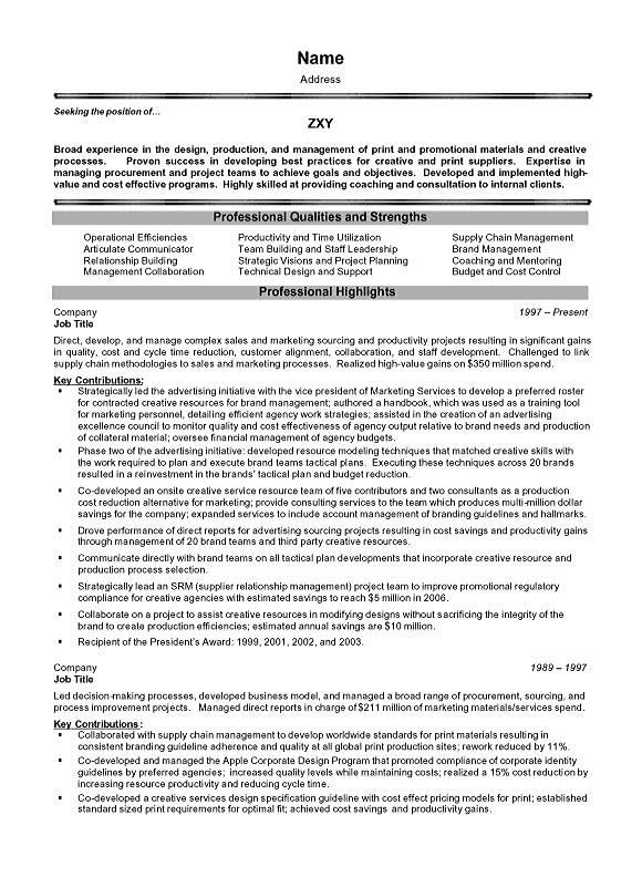 resume experience in management