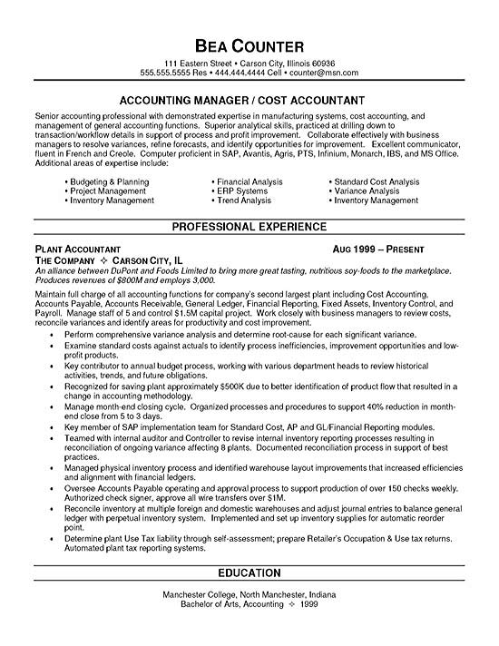 cost accountant resume sample - Acurlunamedia - Financial Accountant Resumes