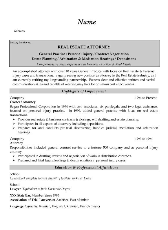 Real Estate Attorney Resume Example - real estate attorney resume