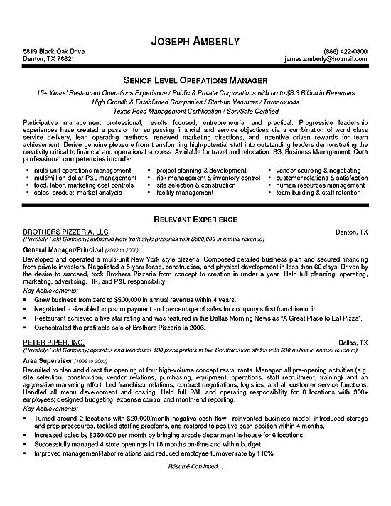 Operations Manager Resume Example - warehouse manager resume examples