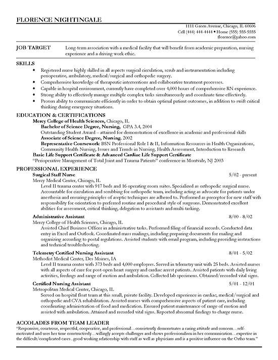 sample resume medical surgical staff nurse