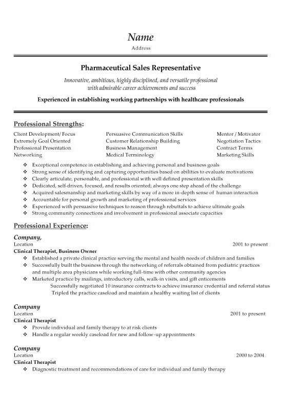 Pharmaceutical Sales Resume Example - pharmaceutical sales representative resume sample