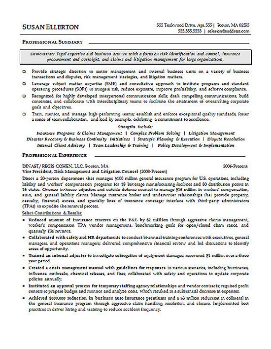 sample legal resumes attorney