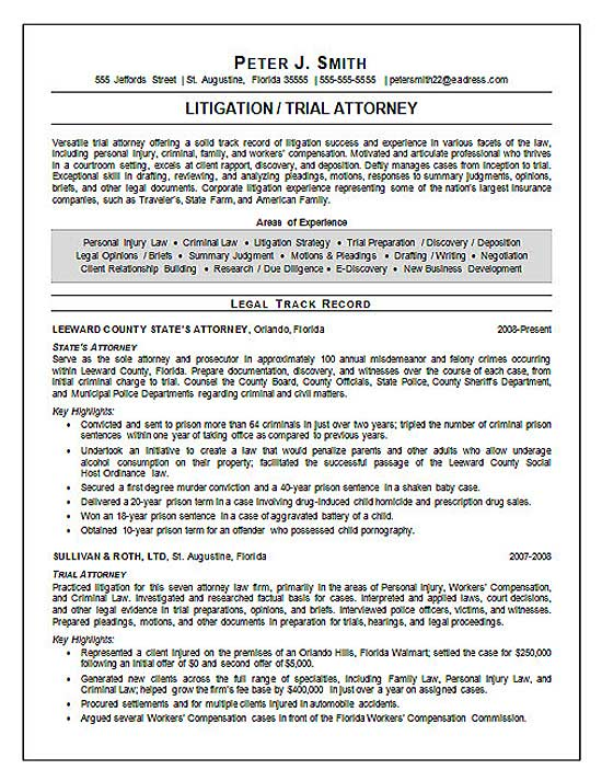 Trial Attorney Resume Example - sample attorney resume cover letter