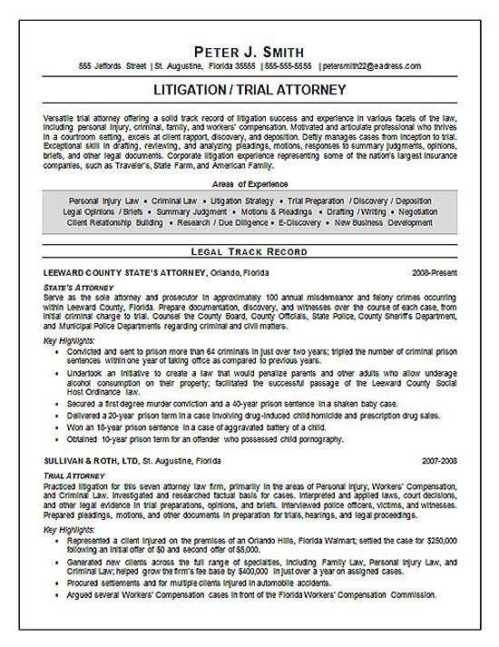 resume summary statement for attorney