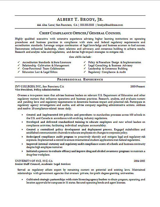 Compliance Officer Resume Example - Advocacy Officer Sample Resume