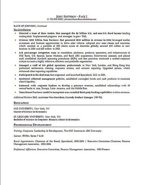 Financial Executive Resume Example