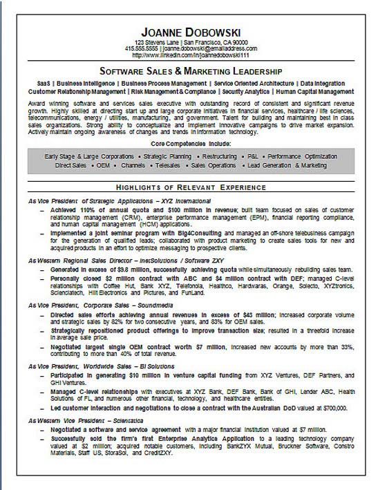 software sales executive resume samples