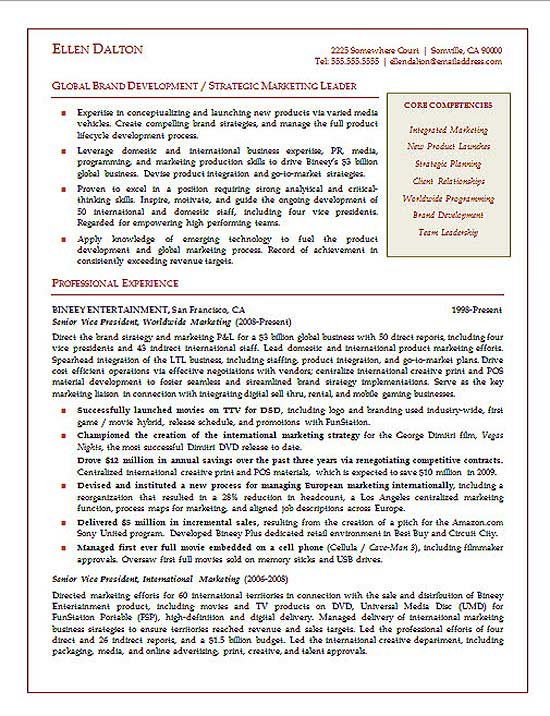 Strategic Marketing Executive Resume Example - marketing executive resume samples
