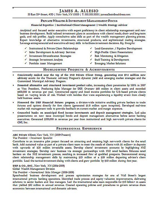 Investment Manager Resume Example - executive summary resume sample