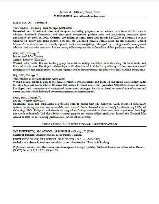 sample resume for investment manager