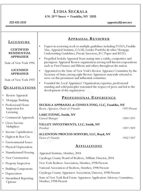 Real Estate Appraiser Resume Example - residential appraiser sample resume