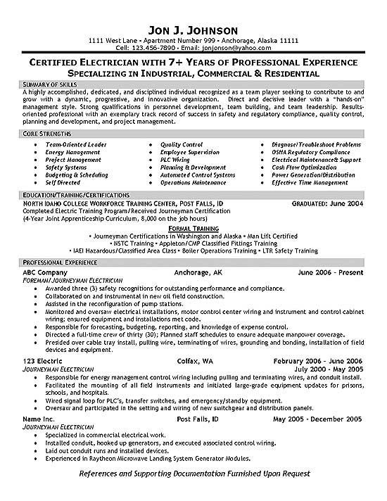 Electrician Resume Example - building operator sample resume