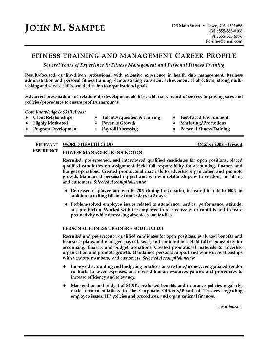 group fitness resume sample