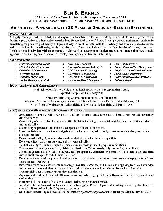 Insurance Appraiser Resume Example - property appraiser sample resume