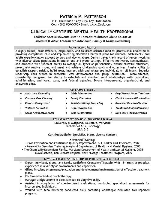 resume summary examples therapist