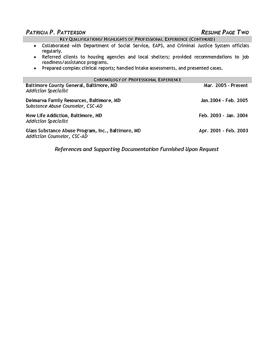 resume profile examples for counselor