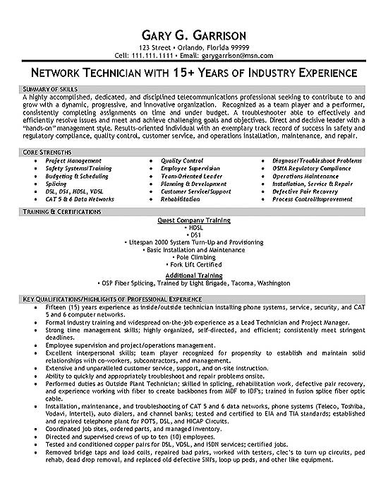 Telecom Technician Resume Example - Telecommunication Resume Sample