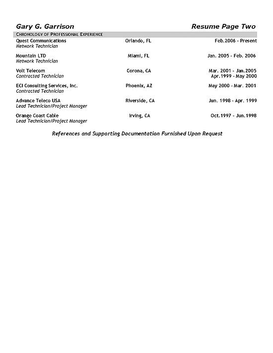 sample of service technician in telecommunication resume
