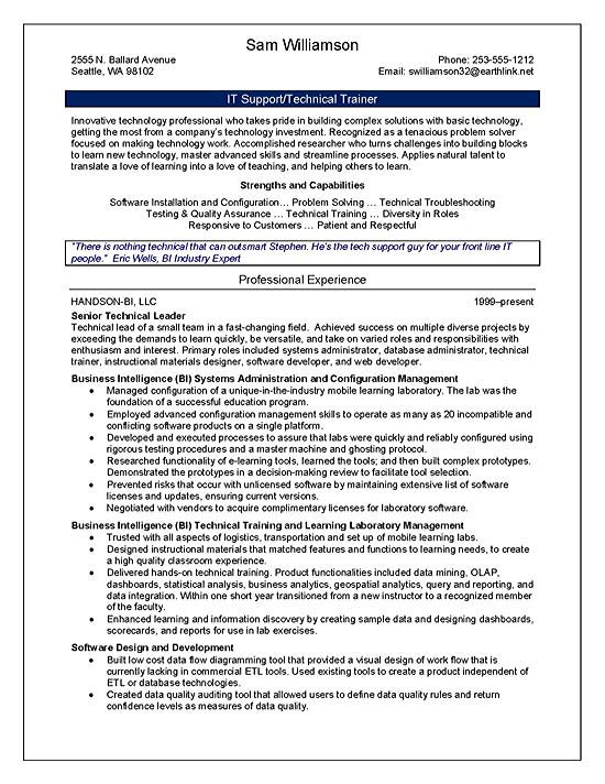 Technical Trainer Resume Example - trainer resume sample