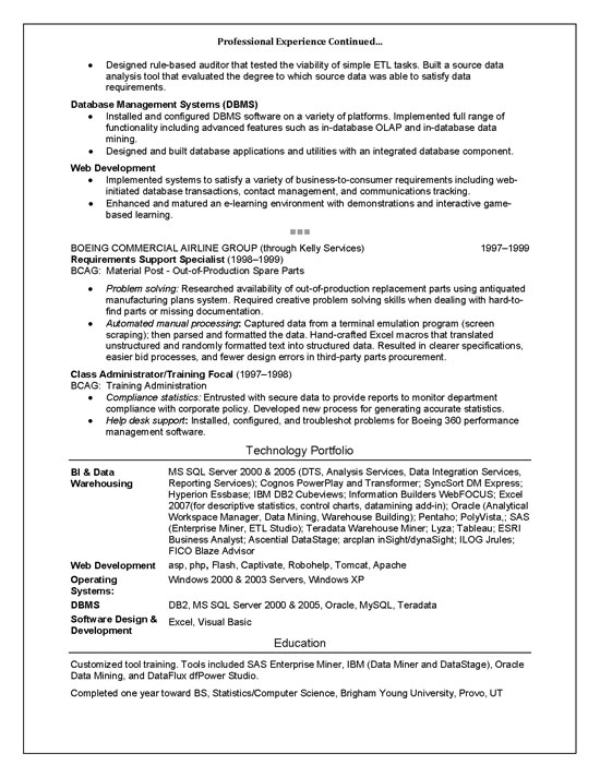 resume and software skills