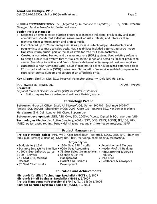 Senior IT Manager Resume Example - Project Manager Resume Summary