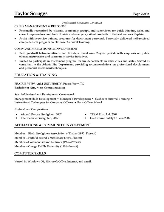 Fireman Resume Example - fire training officer sample resume