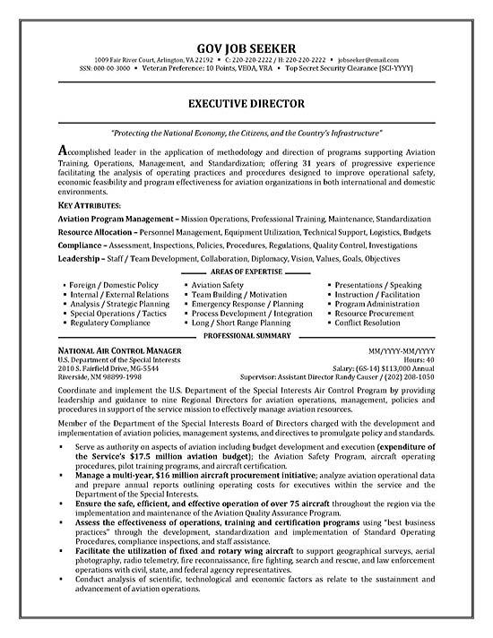 Government Resume Example - resume samples for government jobs