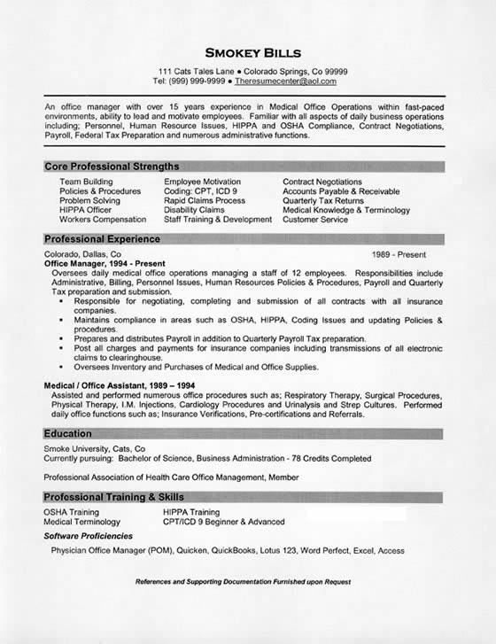 sample resume for office manager physical therapy