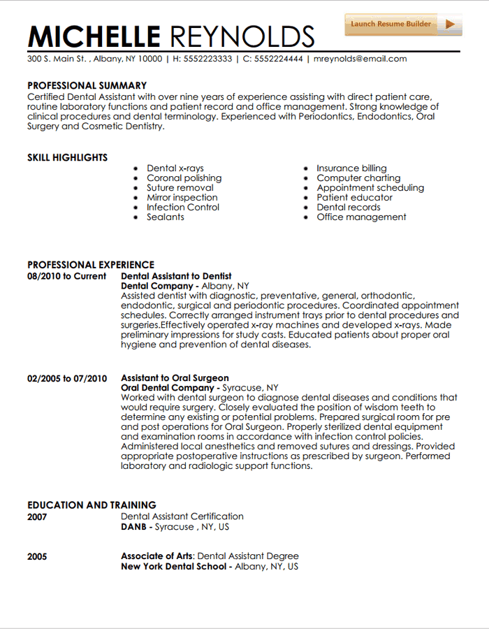 general resume objective examples for dental assistant