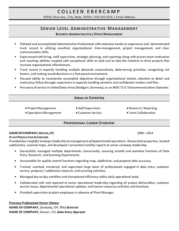 professional management administration resume format example