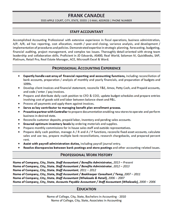 sample of functional resume for accountant