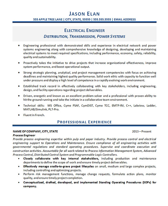 Electrical Engineer Resume Example - electrical engineering resume sample