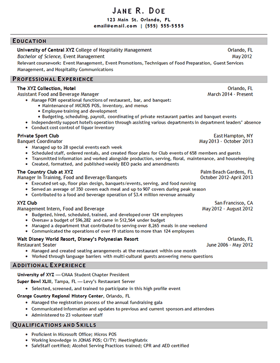 sample resumes for hospitality managers and event managers