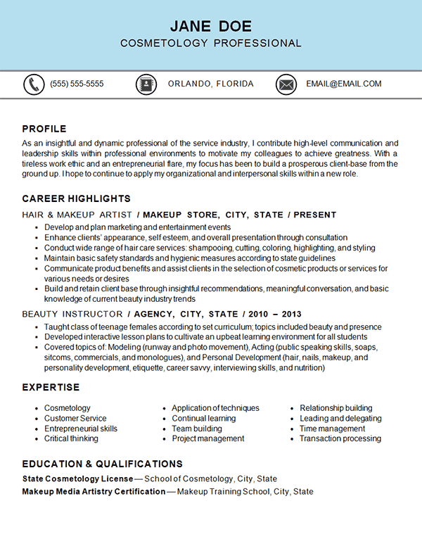 resume examples for service industry