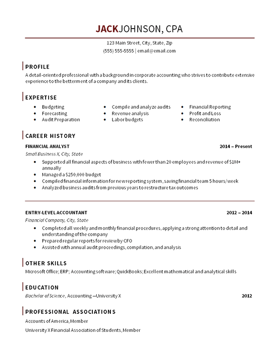 sample resume for entry level staff accountant