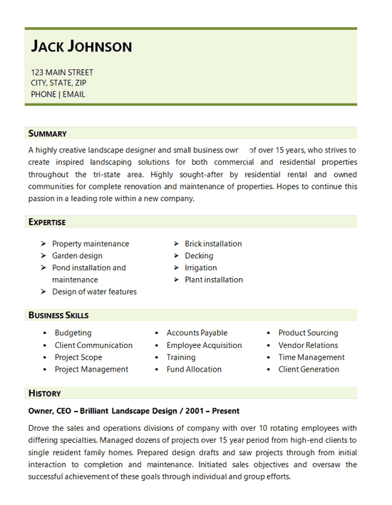 landscape resume skills examples