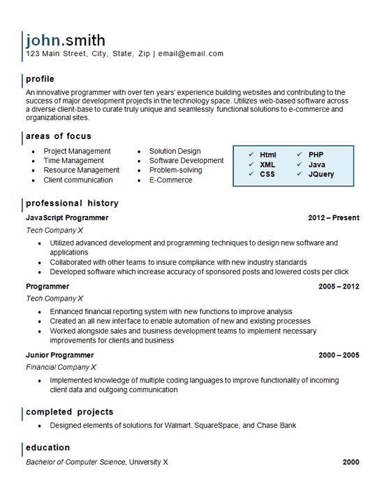 computer programming skills in resume