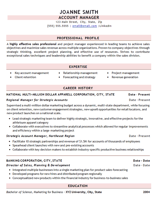 example resume for salesman