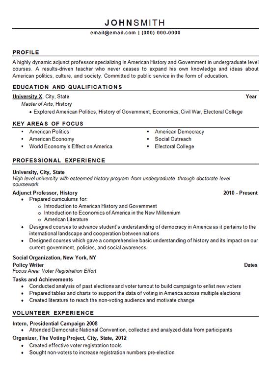 resume for adjunct teaching position