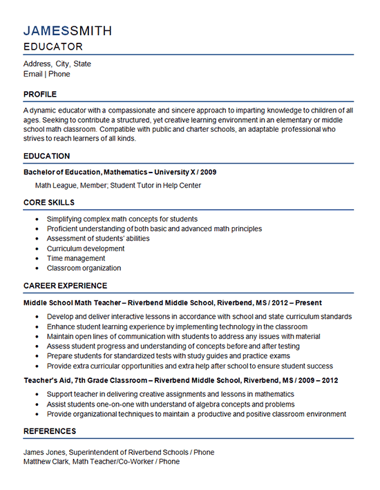 example of new teaching resume