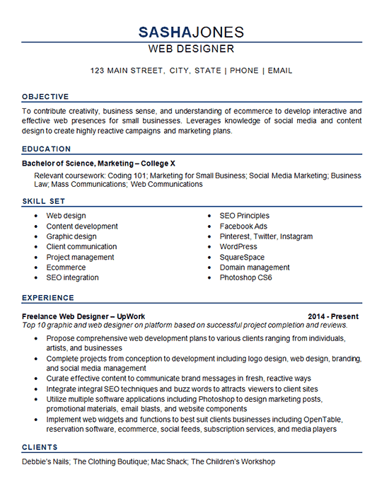 professional resume website example