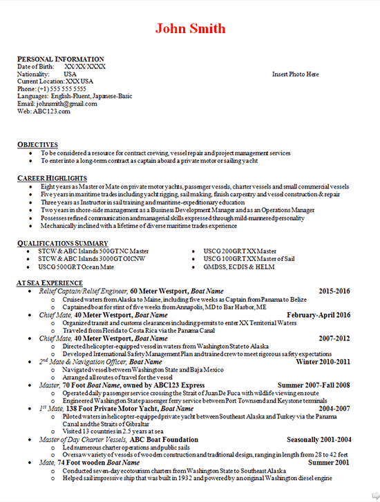 boat captain resume examples