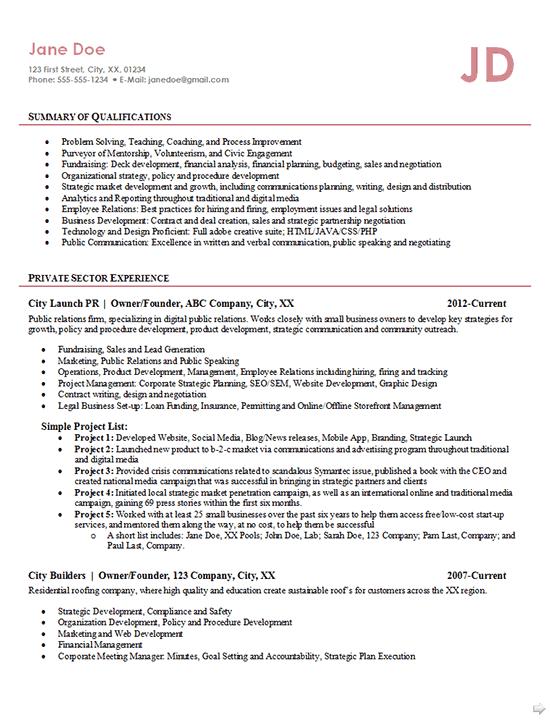 sample resume for startup founders