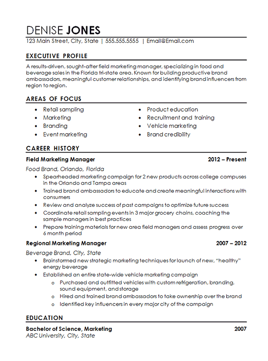 sample resume with professional experience