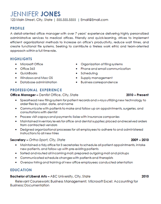office management cv objective